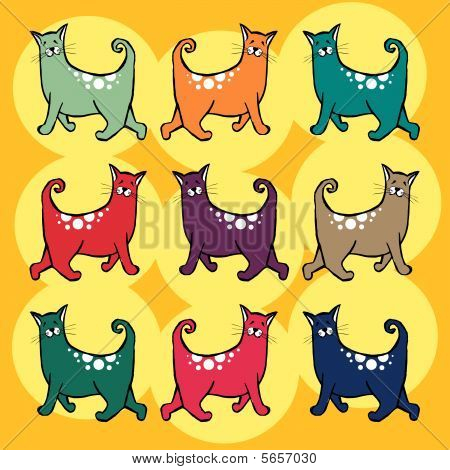 Colorful cats with curly tail pattern. Yellow background poster