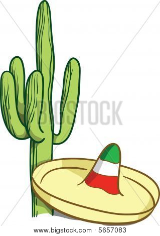 Vector image of typical Mexican sombrero and cactus poster