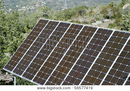 Solar Panels In Countryside Setting.