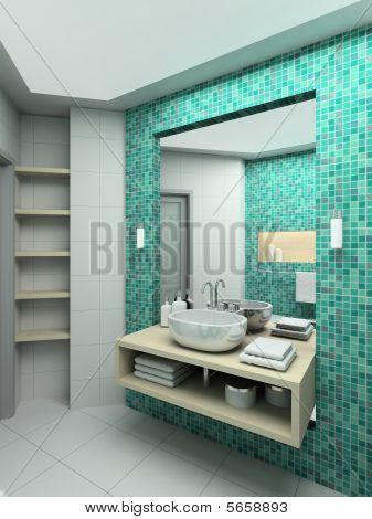 3D Render Modern Interior Of Bathroom