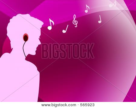 Female Listening To Music With Her Mp3 Player