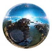 ь spinning disco ball isolated on white poster