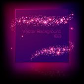 Vector banner surrounded by lights and sparkles. Illustration eps 10 template poster