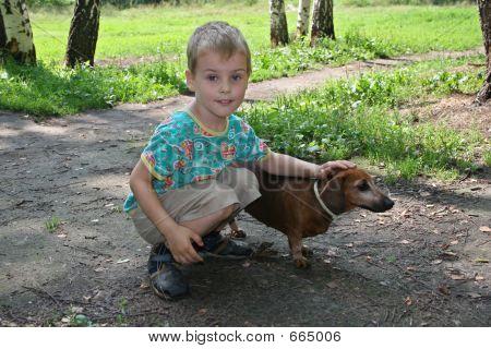 boy with badgerdog poster