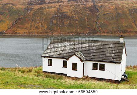 Traditional house on Skye Island, Scotland, Great Britain, Europe