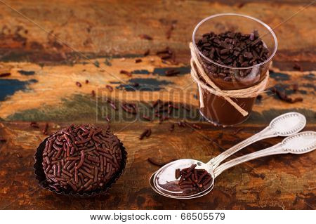 Brazilian Chocolate Bonbon Truffle Brigadeiro With Copy Space