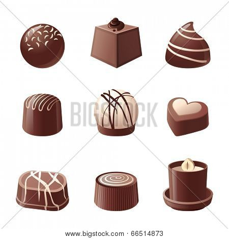 9 chocolate candy icons over white background