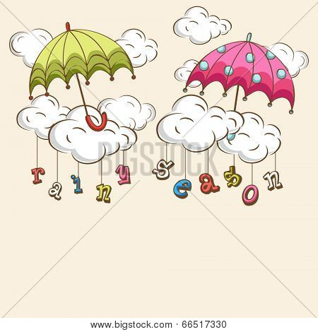 Creative kiddish concept with colorful umbrellas, clouds and hanging colorful text on brown background.