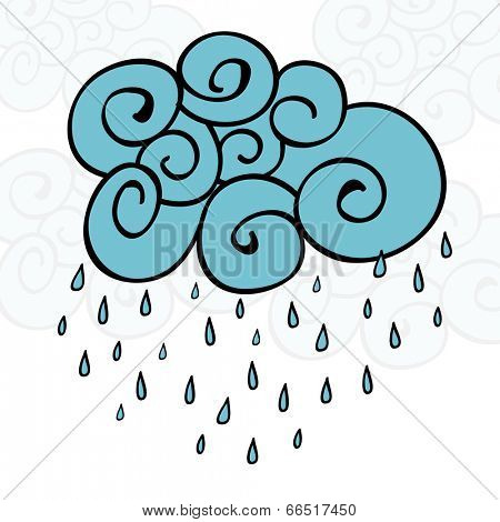 Creative blue cloud and raindrops, Happy Monsoon Season concept.  poster