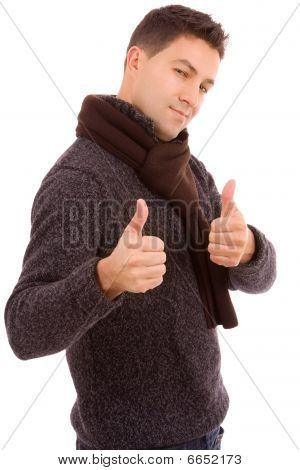 Young Casual Men Tumbs Up On White Background