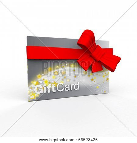 Silver gift card on a white background