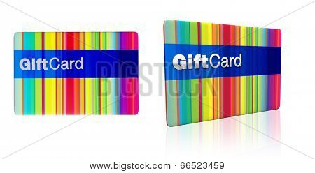 multicoloured generic gift card isolated on white background