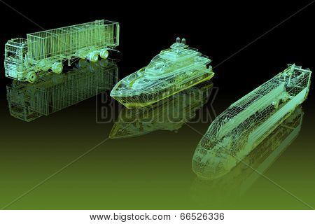 Types of transport. 3d abstract model