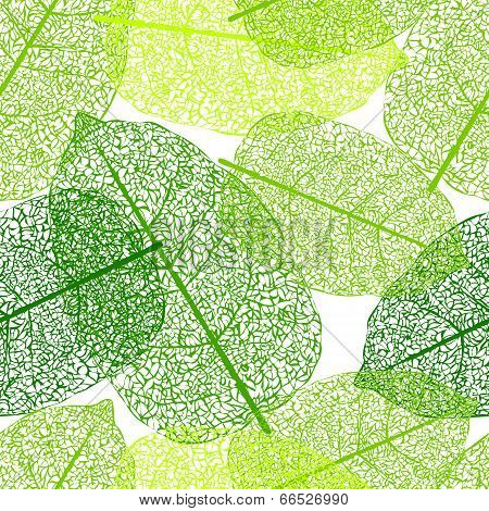 Leaf skeletons seamless vector background