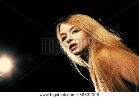 Hot long hair blonde looking at camera