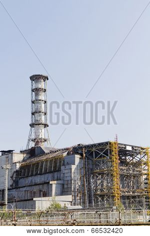 Chernobyl nuclear reactor 4, the place of biggest nuclear disaster. It was covered with sarcophagus to prevent radion after the disaster on 26.04.1986.