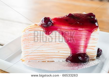 Homemade Dessert Blueberry Crepe Cake