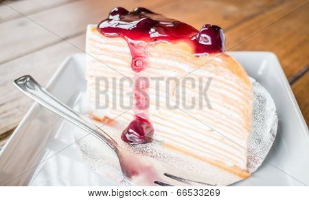 Delicious Crepe Cake With Blueberry Melt Sauce