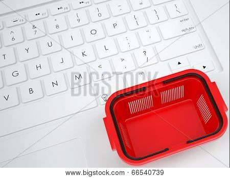 Shopping basket on the keyboard