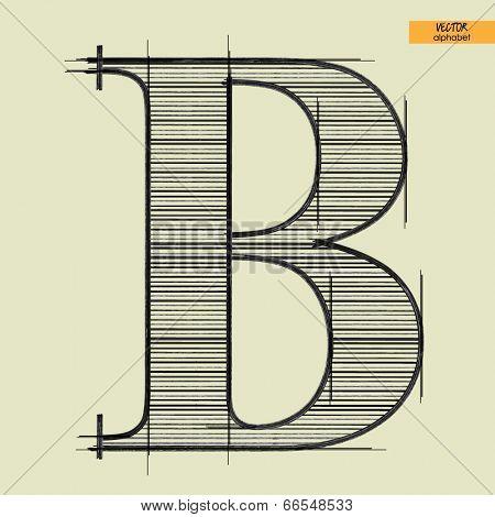art simple alphabet in vector, classical black handmade font, letter B