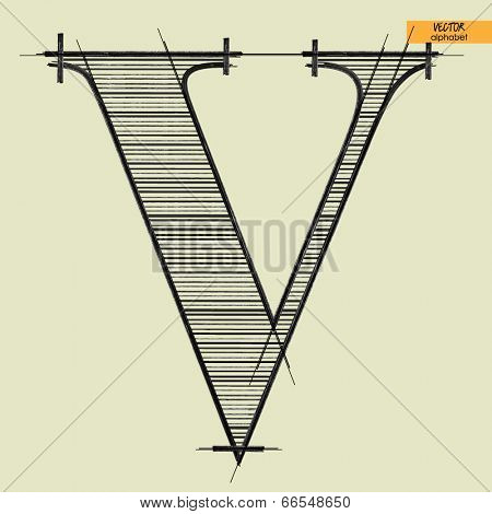 art simple alphabet in vector, classical black handmade font, letter V