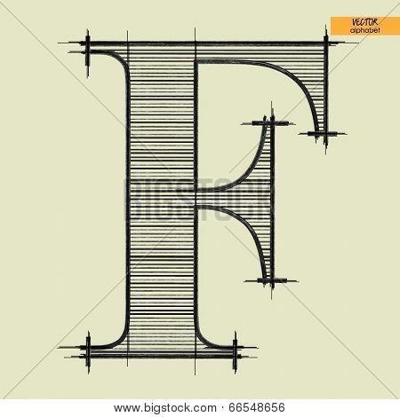 art simple alphabet in vector, classical black handmade font, letter F
