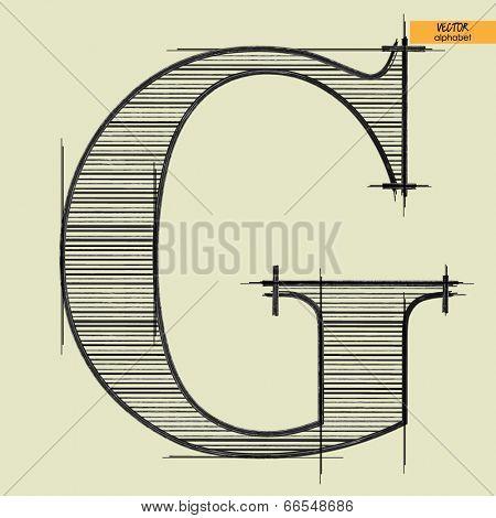 art simple alphabet in vector, classical black handmade font, letter G