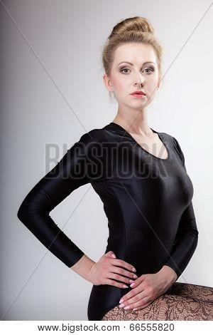 Portrait Modern Style Woman Ballet Dancer On Gray