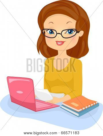 Illustration of a Female Editor in Glasses Reading Documents