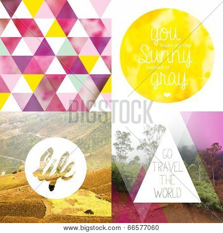 Trendy geometric mixed media photography inspirational text quote poster collection background