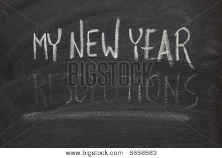 Forgetting New Year Resolutions - Concept On Blackboard