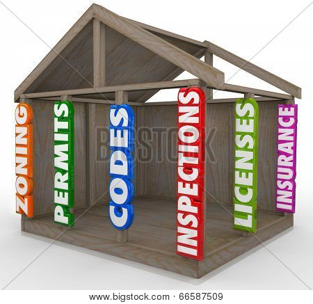 Wooden house frame new construction project beams zoning, permits, codes, inspections,