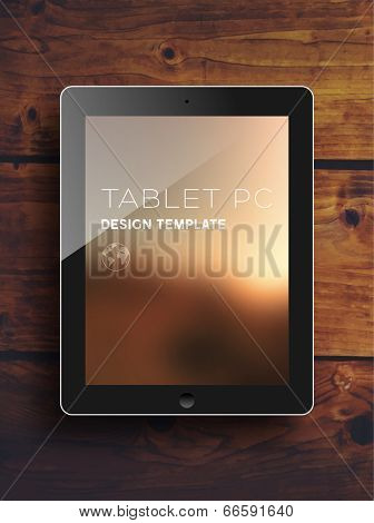 Black Tablet PC with Blurred Background. Vintage Wood Texture. Vector.