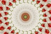 A background of a tiny rosebud with scattered pearls, lying on white silk poster