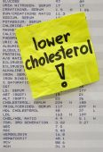 lower cholesterol - yellow reminder note on printout with blood test results poster