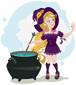 Cute witch cooks potion and admires ring. Illustration in vector format poster