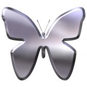 3d silver butterfly that is isolated in white poster