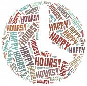 Tag cloud illustration related to happy hours poster