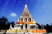 Vintage white old pagoda in Wat Chedi Liam, Triangle Pagoda, chiangmai thailand. poster