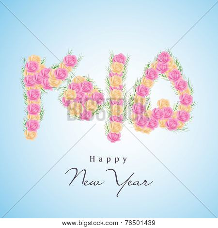 Happy New Year 2015 greeting card design with stylish Urdu calligraphy of text 2015 decorated with colorful flowers.