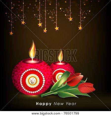 Happy New Year poster, banner or flyer with beautiful illuminated oil lit lamps, rose flowers and hanging stars on brown background.