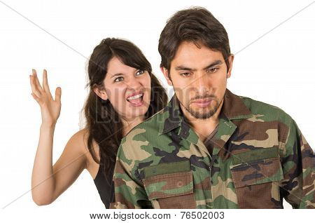 distraught military soldier veteran ptsd fighting with wife