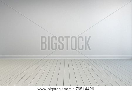 3D Rendering of Simple empty white room interior with painted wooden floorboards, skirting and a white wall with grey overtones for use as a design template poster