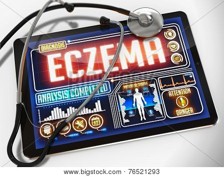 Eczema on the Display of Medical Tablet.
