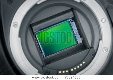 Exposed Image Sensor. Dslr, Aps-c Chip.