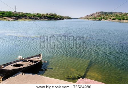 Boat With Oars By Kailana Lake, Jodhpur