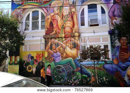 mexican walls of house of women, San Francisco, California, USA