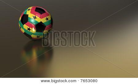 Glossy Ghana Soccer Ball On Golden Metal