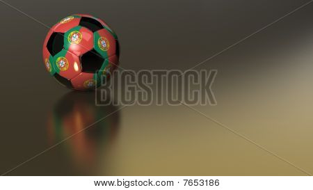 Glossy Portugal Soccer Ball On Golden Metal