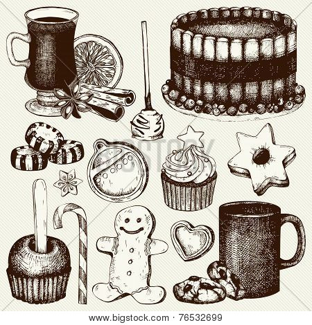 Vector collection of ink hand drawn Christmas food and drinks